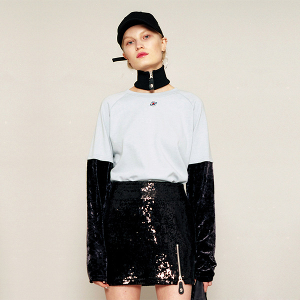 VELVET LAYERED LONG SLEEVE T-SHIRT - SKY