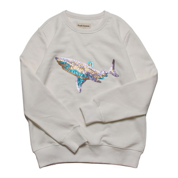 SPANGLE SHARK SWEAT(IVORY)