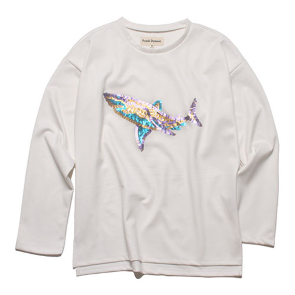 SPANGLE SHARK L-SLEEVE(IVORY)