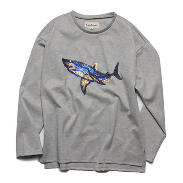 SPANGLE SHARK L-SLEEVE(GRAY)