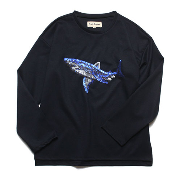 SPANGLE SHARK L-SLEEVE(NAVY)