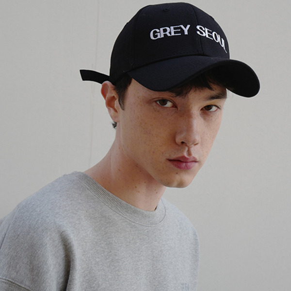 GREY SEOUL BALL CAP - BLACK
