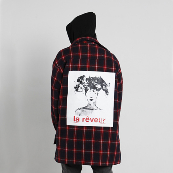 'la reveur' flannel check shirts jacket - navy/red