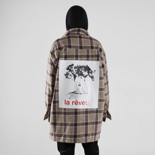 'la reveur' flannel check shirts jacket - brown