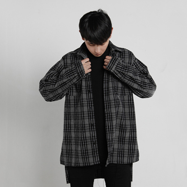oversize damage heavy flannel check shirts - black/gray