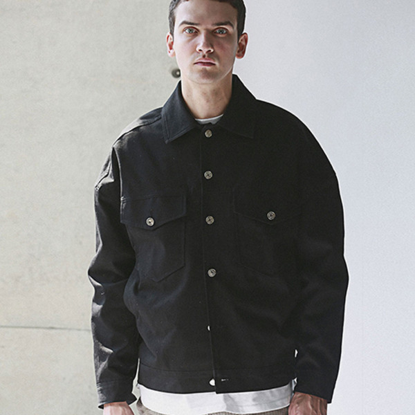 OVERFIT TRUCKER JACKET BLACK