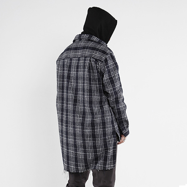 oversize damage heavy flannel check shirts - navy/white