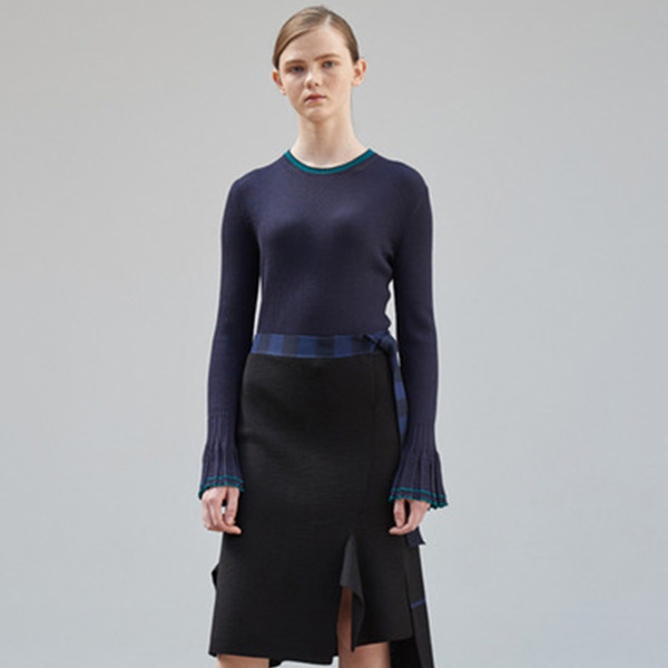 Sleeve Wide Cuffs Rib Top [D/NAVY]
