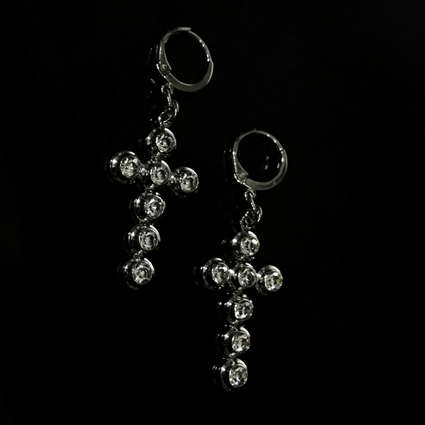THINCKER CROSS CUBIC EARRING - M / L