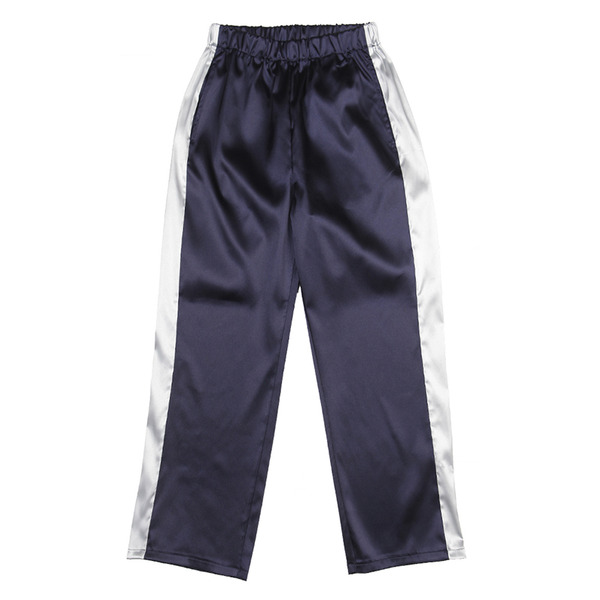 UNISEX SHINING CHARMEUSE PANTS (2SIZE) / NAVY