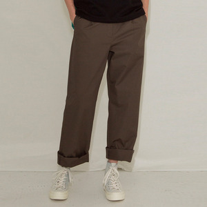 LONG STITCH COTTON PANTS - KHAKI