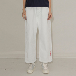 MOL DENIM WIDE CHINO PANTS - WHITE