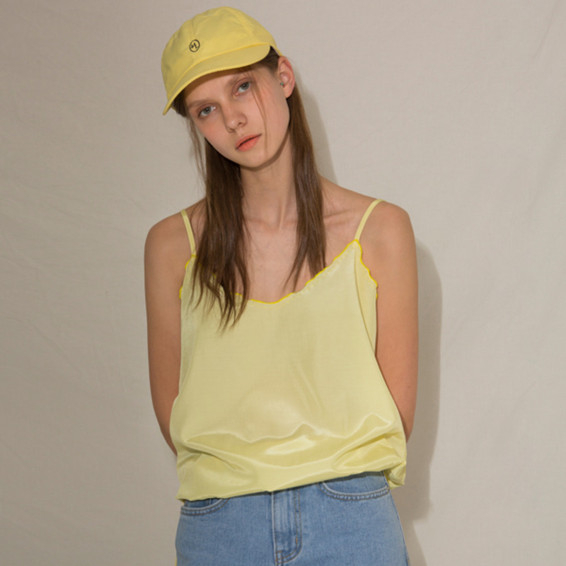 HAND NEEDLEPOINT SLEEVELESS TOP - YELLOW