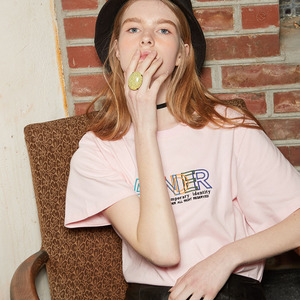 EMBROIDERY COLOR T-SHIRT_PINK
