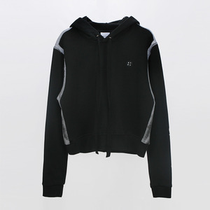 Line drawing Print Hoodie Sweatshirt - BLACK