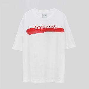 Brush Touch Print T-shirt - WHITE