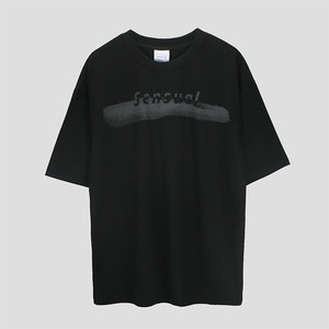 Brush Touch Print T-shirt - BLACK