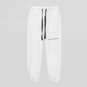 Ribbon Tape Point Basic Sweatpants - WHITE