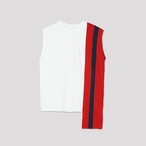 Color Block Sleeveless Top - WHITE
