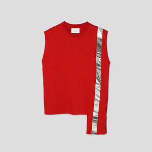 Color Block Sleeveless Top - RED