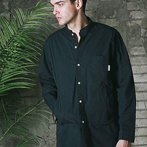 HENRY NECK WORK SHIRT - NAVY