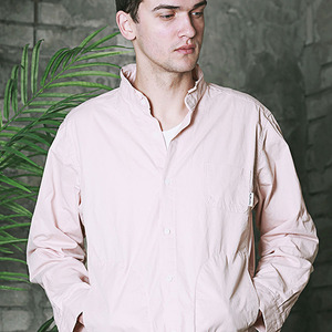 HENRY NECK WORK SHIRT - PINK