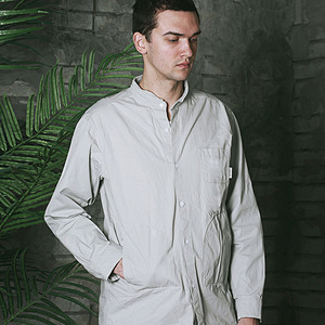 HENRY NECK WORK SHIRT - GRAY
