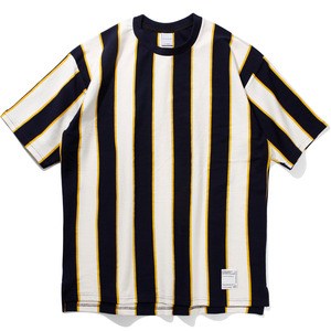 16`s Overfit vertical stripe t-shirts navy/yellow