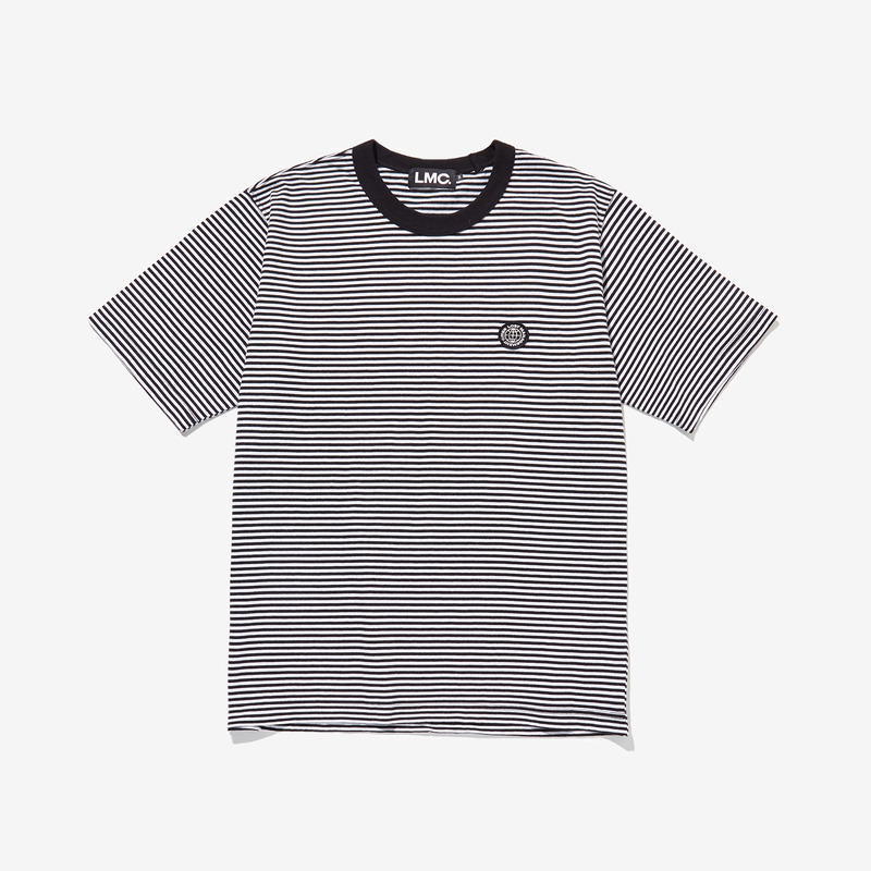 LMC WHEEL LOGO PATCHED STRIPED TEE - WHITE