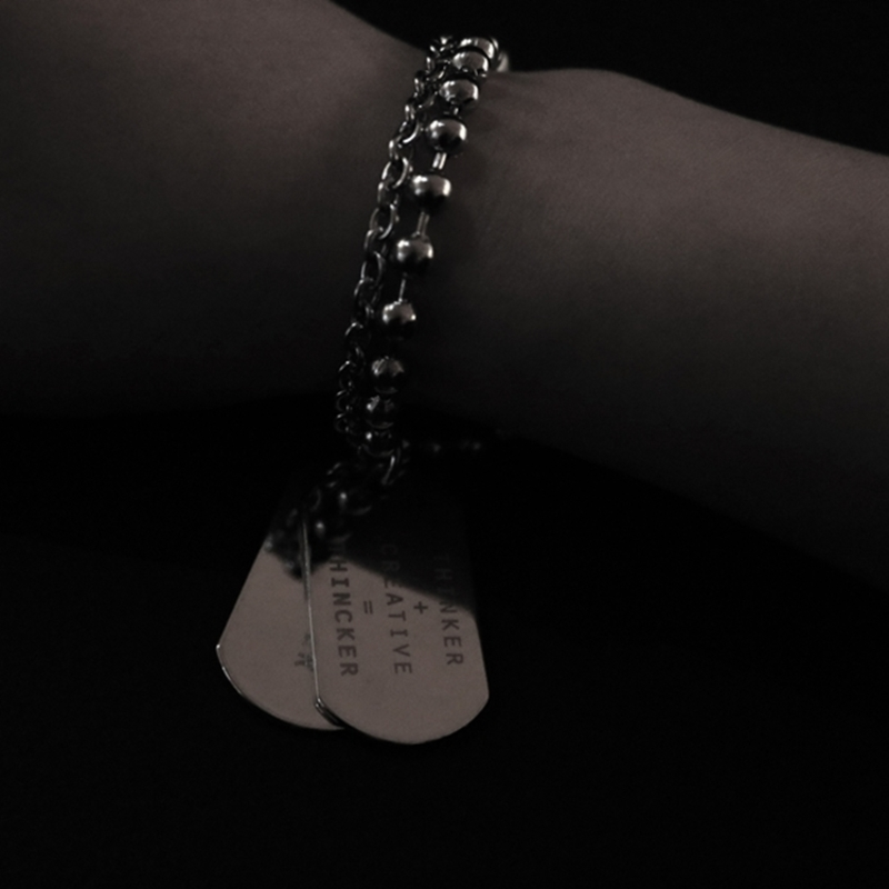 THINCKER DOUBLE PENDANT STEEL BRACELET