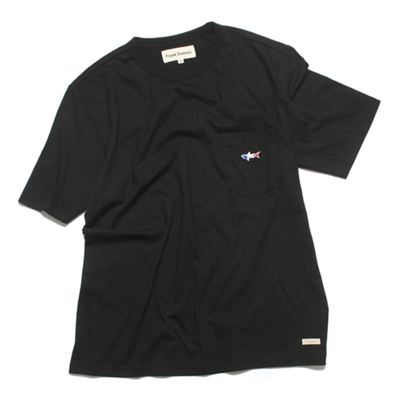 SHARK ICON POKET T-SHIRT(BLACK)