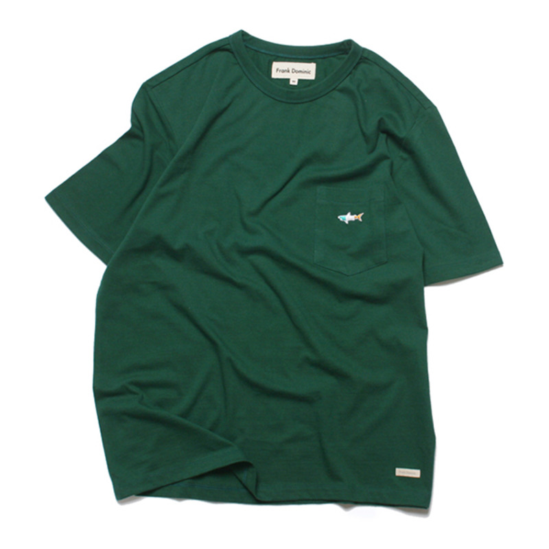 SHARK ICON POKET T-SHIRT(GREEN)
