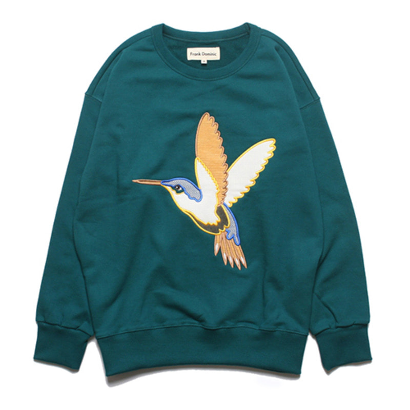 HUMMING BIRD OVERSIZE SWEAT(BLUE GREEN)