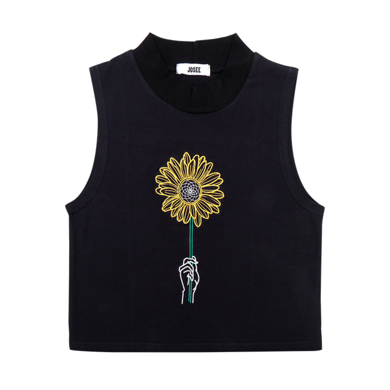 T SHIRT - BLACK SUNFLOWER