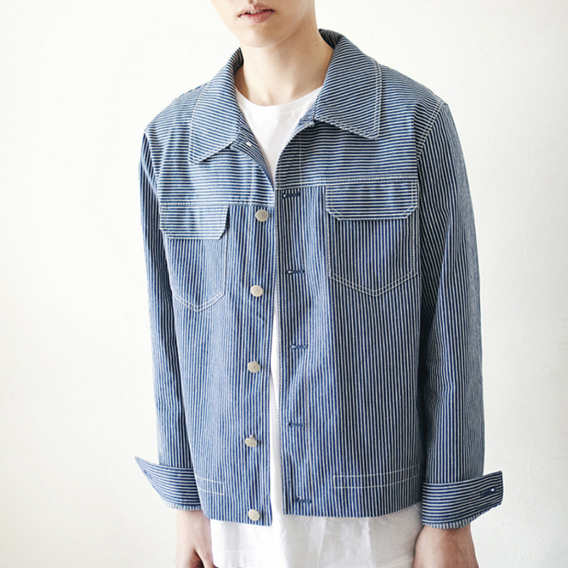 JACKET - POCKET BLUE STRIPE