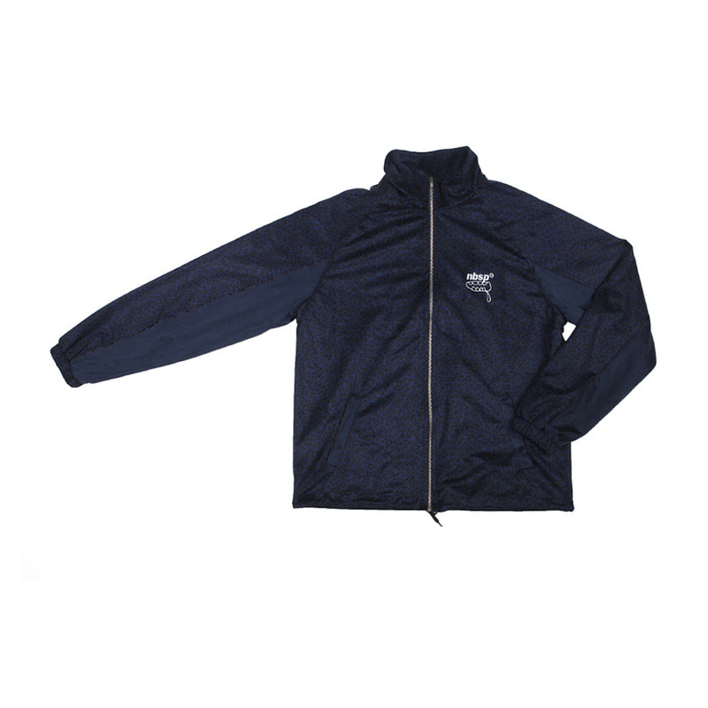 SUEDE LEOPARD ZIP-UP RAGLAN JACKET / NAVY