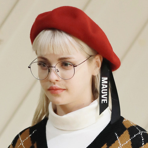 LOGO RIBBON BERET (red)