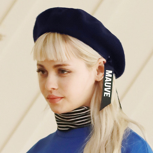 LOGO RIBBON BERET (navy)