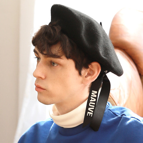 LOGO RIBBON BERET (black)
