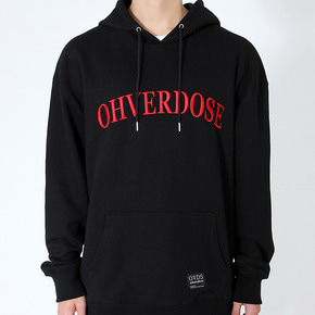 OVERSIZED ARCH LOGO HOODIE BLACK