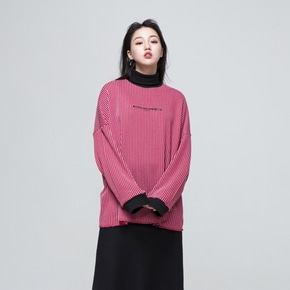 oversized vertical stripe knit (red/gray)