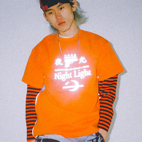 Reflective check tee orange