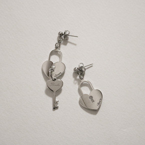THINCKER HEART LOCK EARRING - SILVER