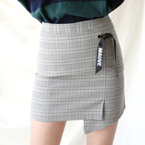 RIBBON CHECK SKIRT (grey)