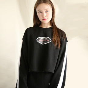 LINE LOGO CROP T SHIRTS (black)