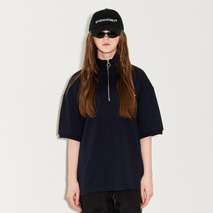 COLLAR ZIP-UP RIB T / NY