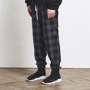 Check Jogger Pants Black