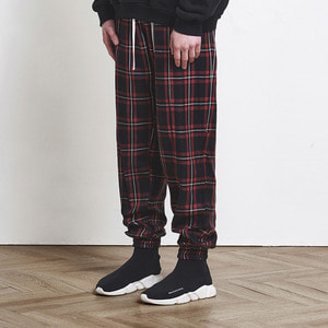 Check Jogger Pants Red