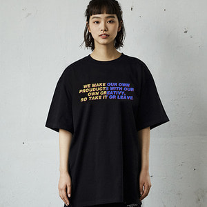 2 COLORED LETTERING T-SHIRTS_BLACK