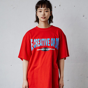 CURVED SLOGAN T-SHIRTS_RED